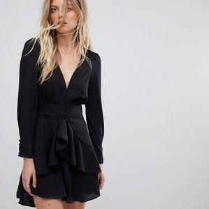 For Love And Lemons black plunge party dress XS